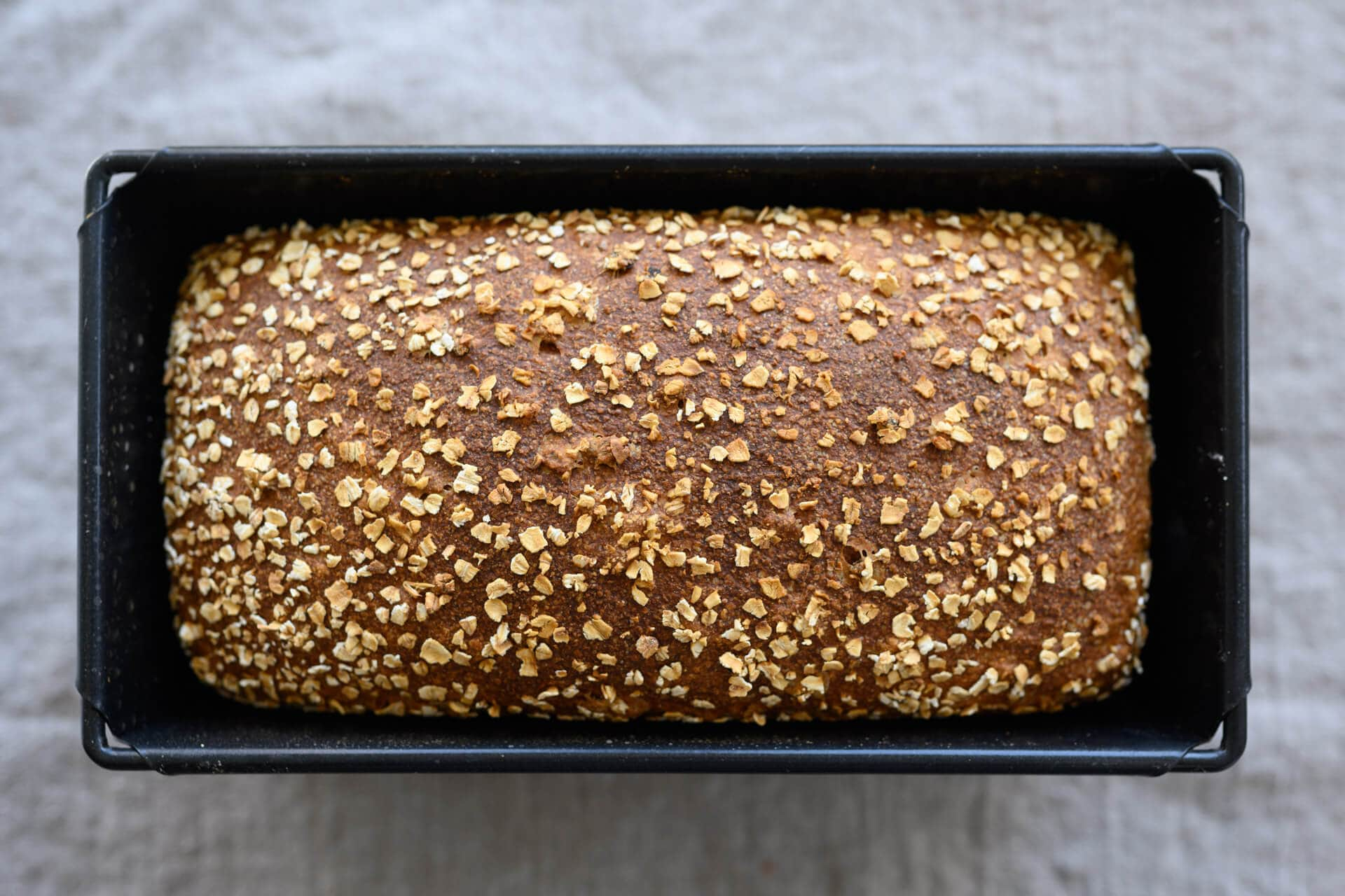 Baked honey whole wheat and barley pan loaf