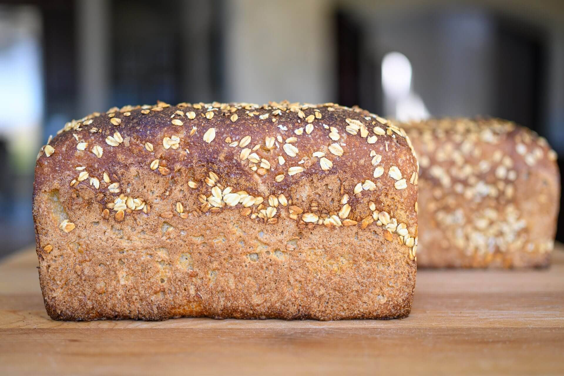 Honey whole wheat and barley pan loaf crust