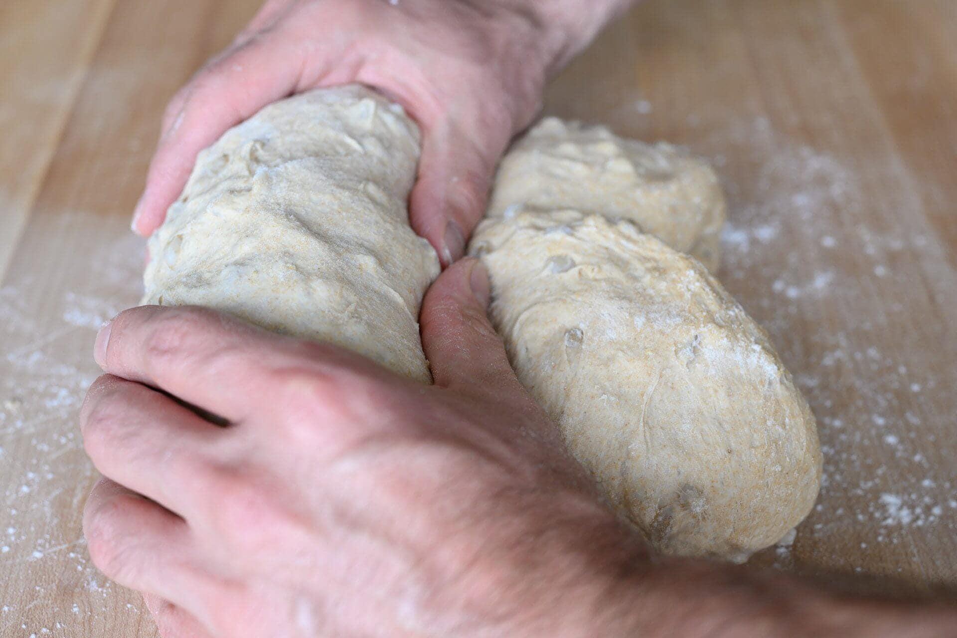 Shaping pan loaf dough