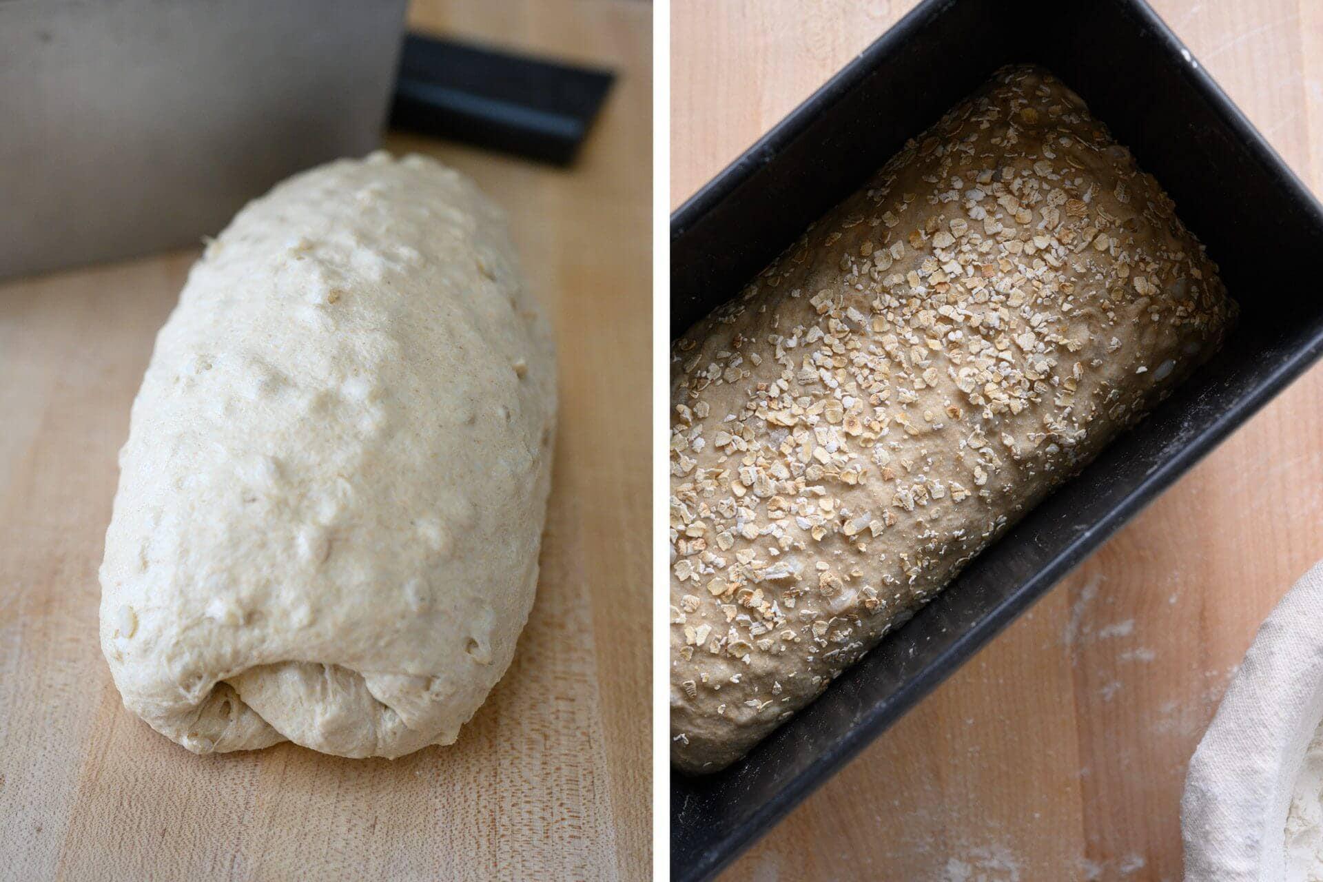 Shaped pan loaf.