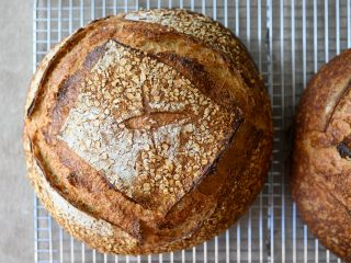 Malted wheat sourdough bread crust