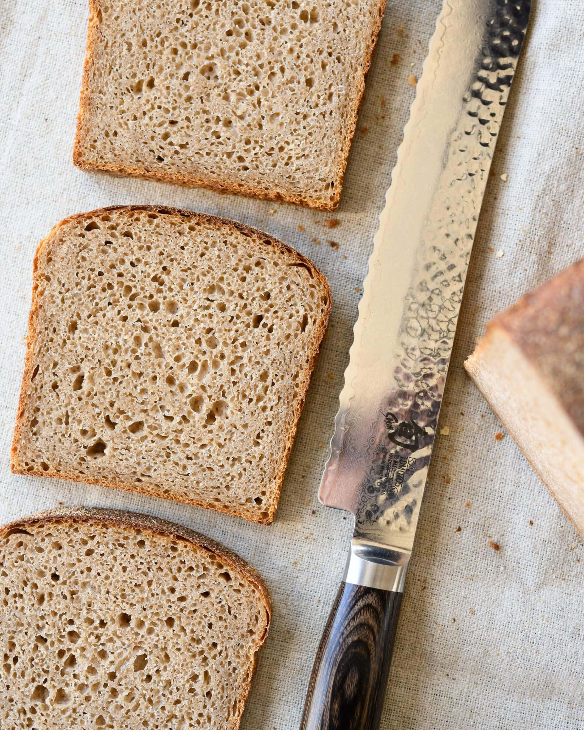 Crumb of the whole grain sourdough spelt pan loaf