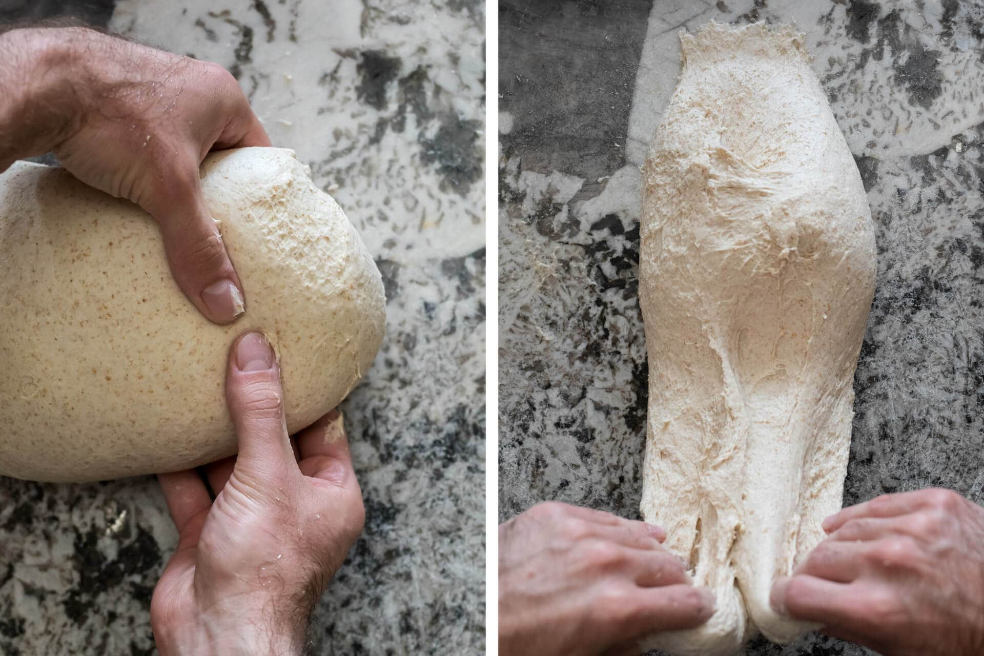 Slap and fold: picking up the dough and slapping down on the counter