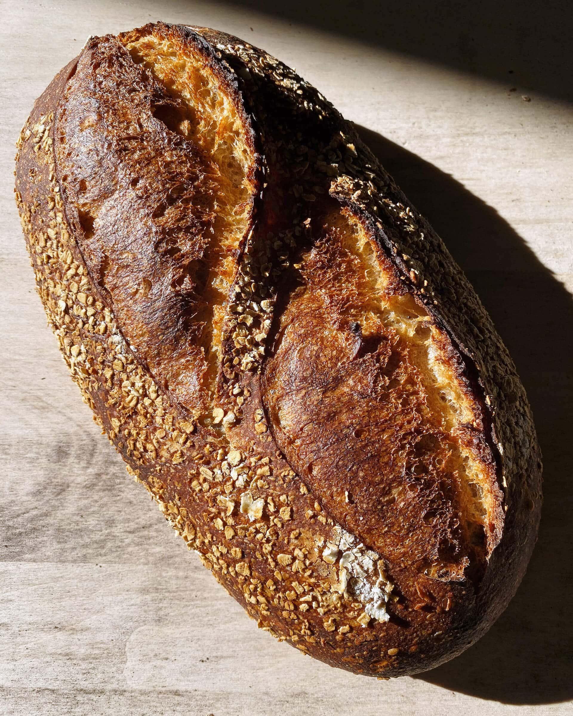 Spelt, rye, whole wheat sourdough