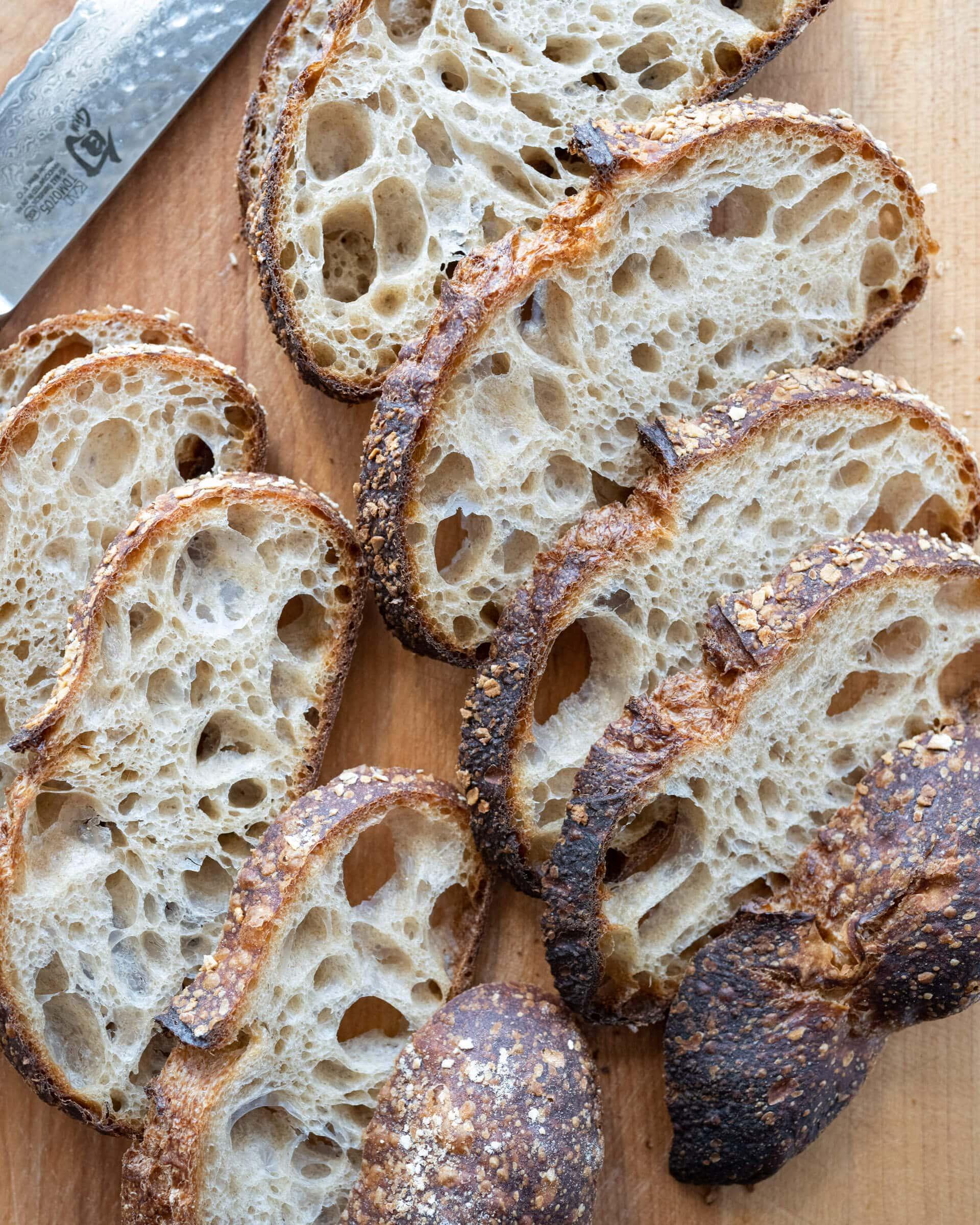 Cut sourdough bread ready for storage