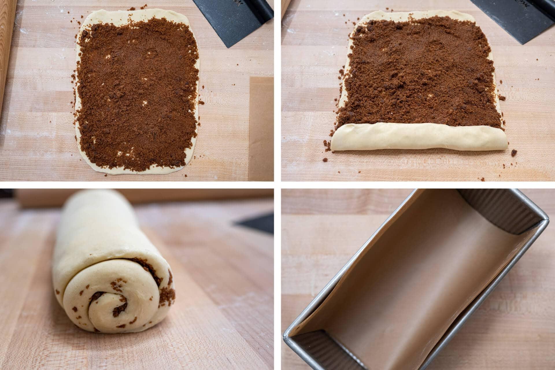 Rolling babka dough