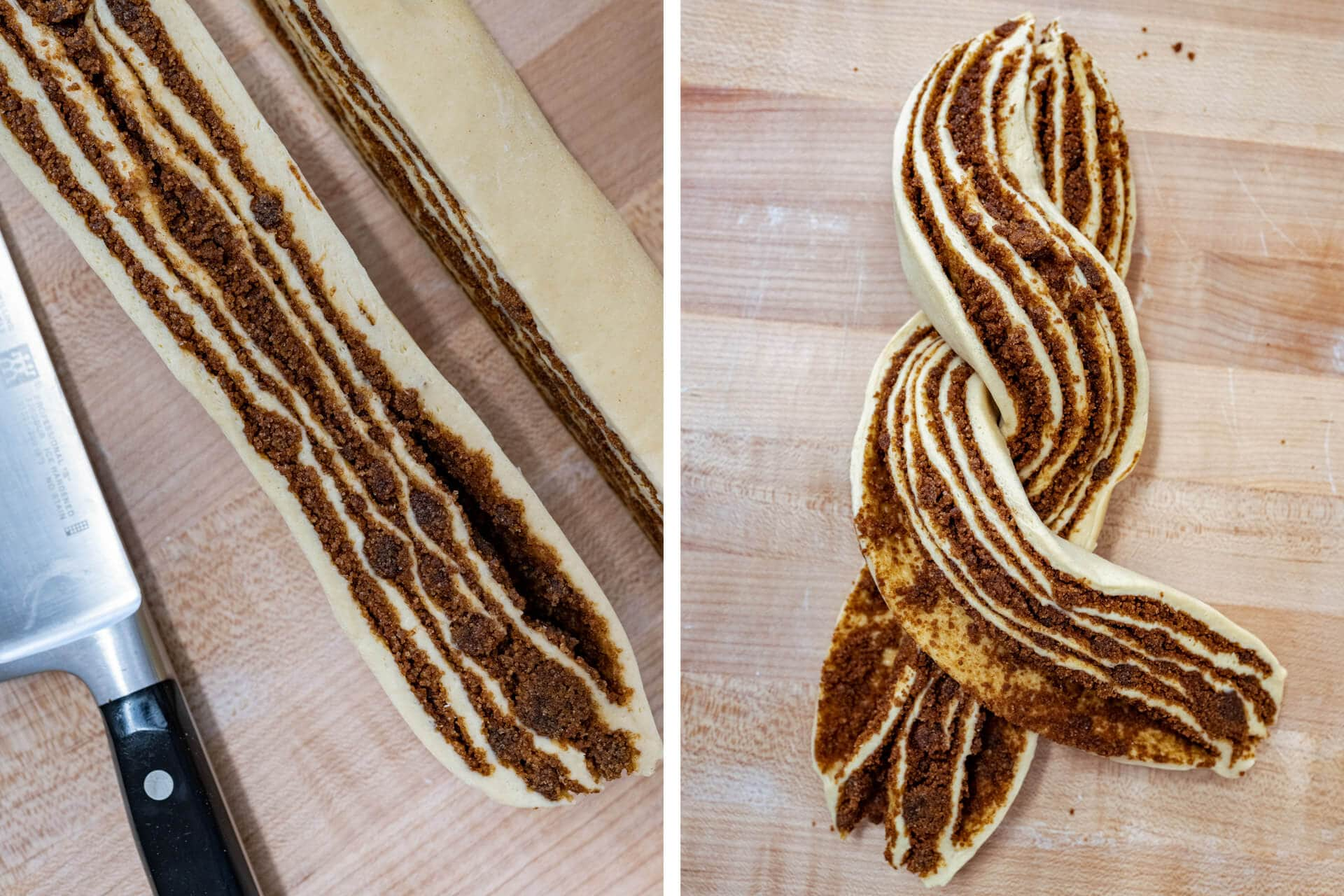Cutting and braiding babka