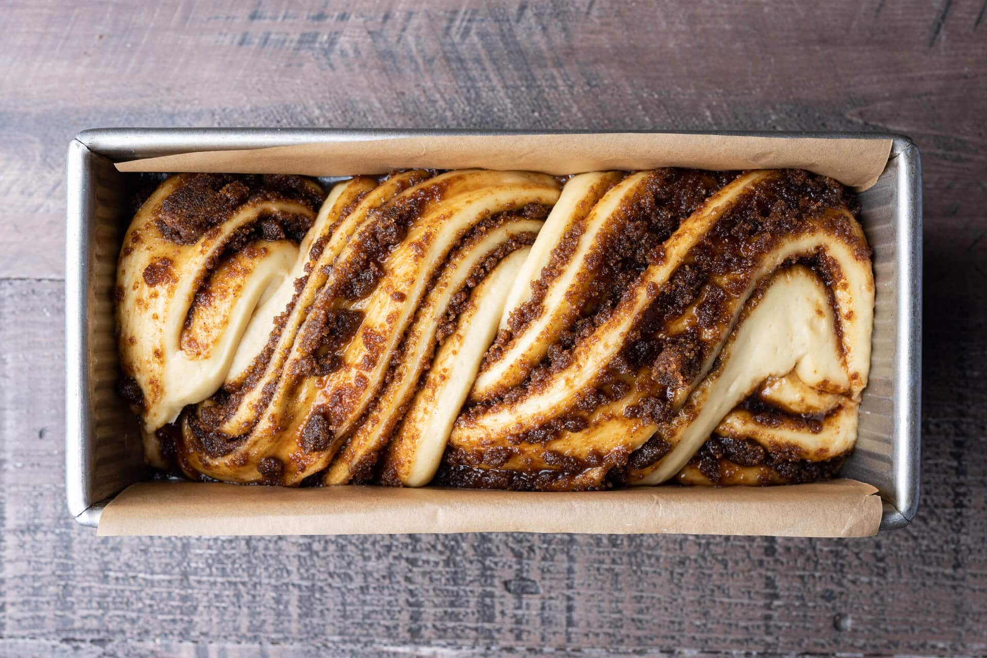 Fully proofed babka dough