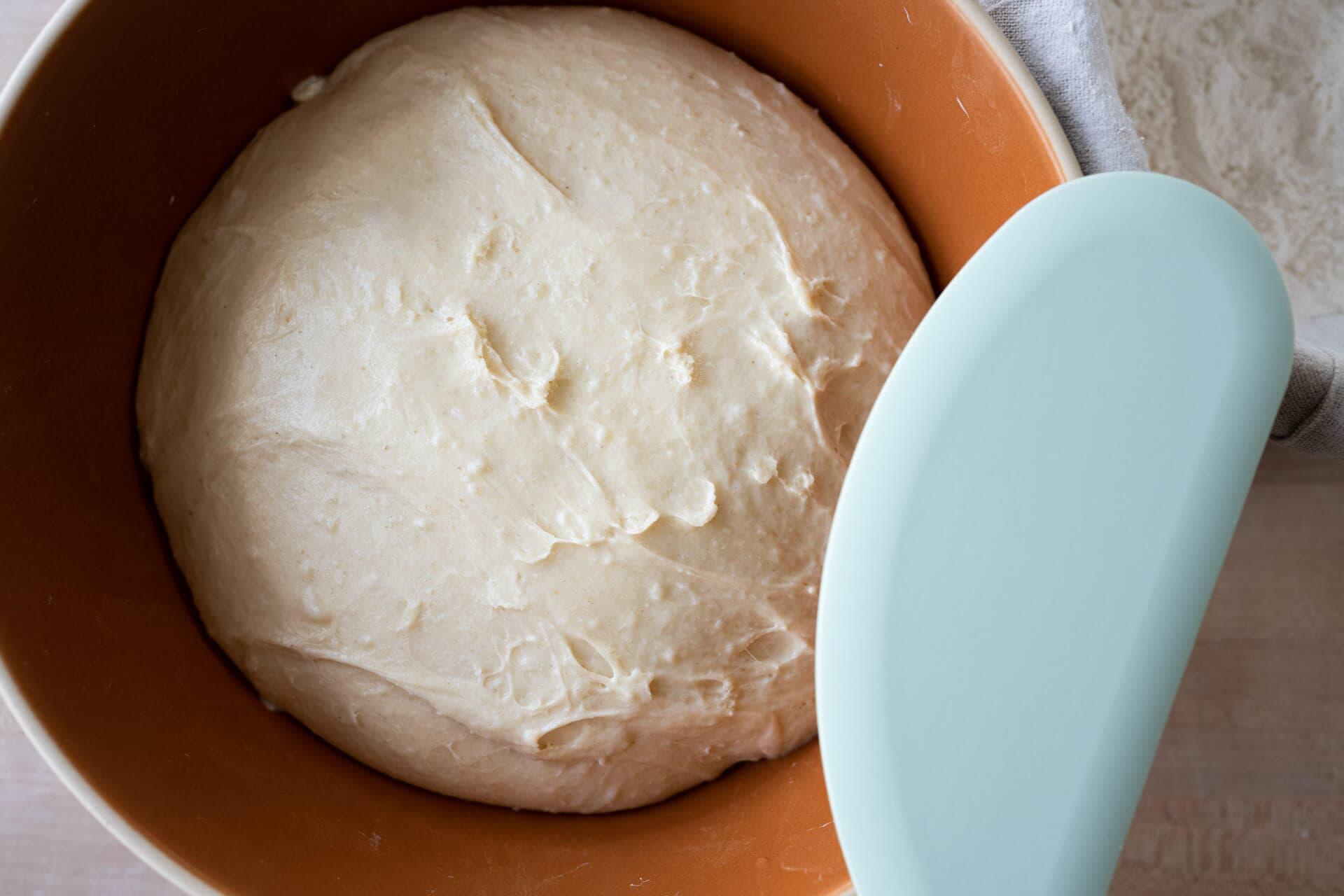 Fully proofed soft sourdough potato bun dough