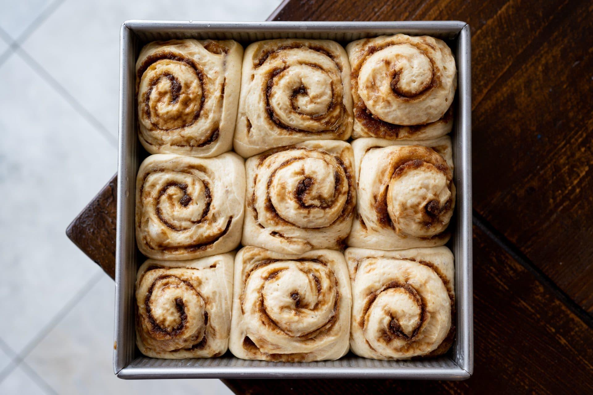 Fully proofed sourdough cardamom rolls