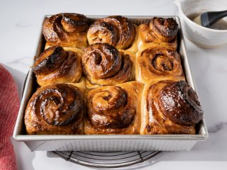 Cardamom rolls glazed with simple syrup