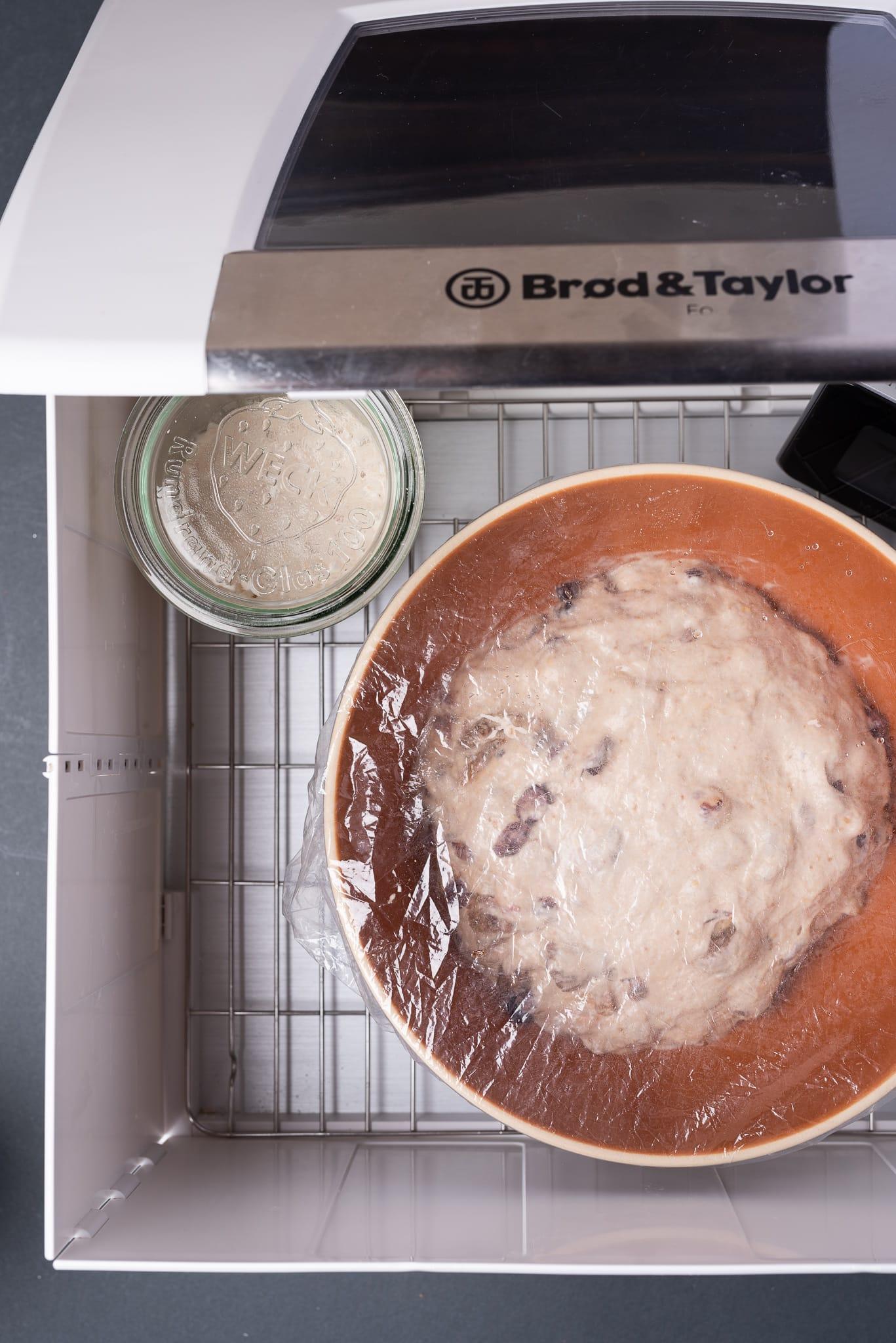 Heath Ceramics bowl inside dough proofer