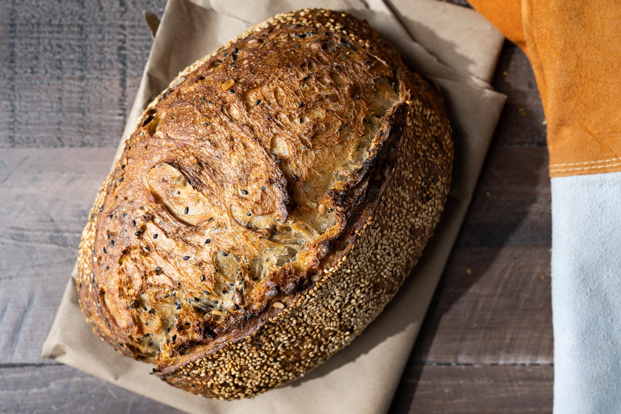 sunflower and sesame sourdough bread crust