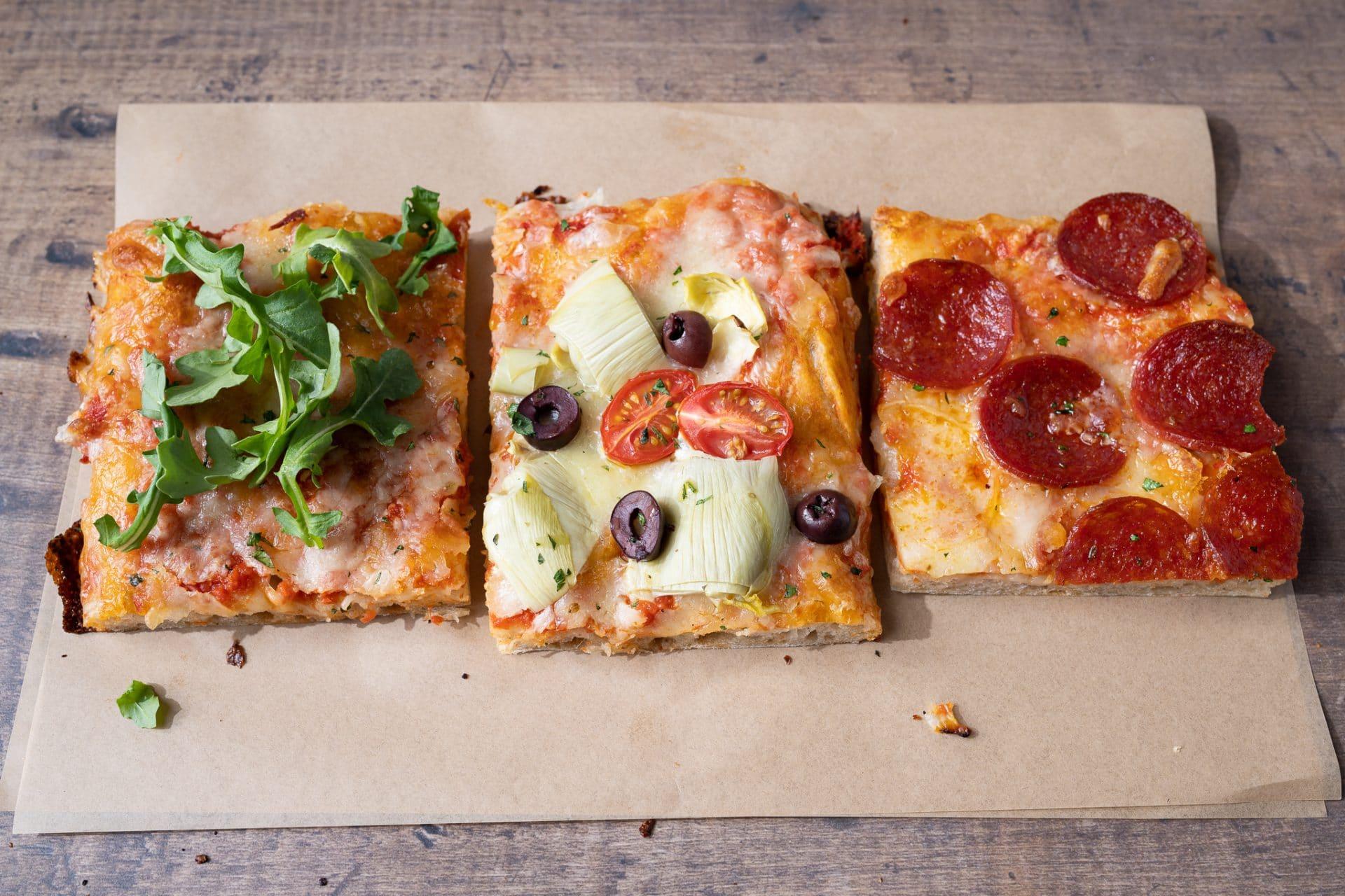 Sourdough rectangular pizza slices
