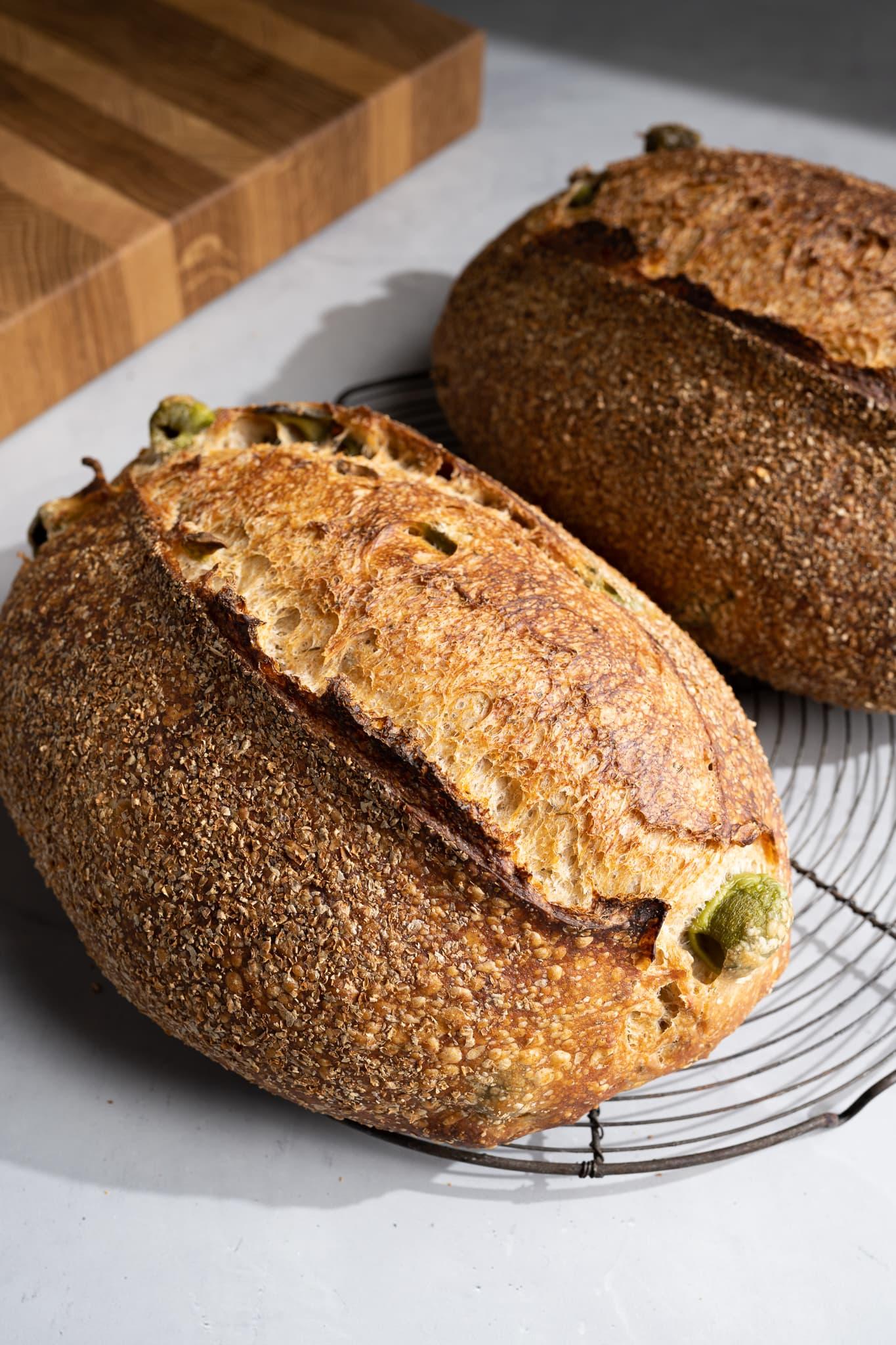 olive sourdough bread crust
