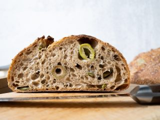 Green olive and herb sourdough bread