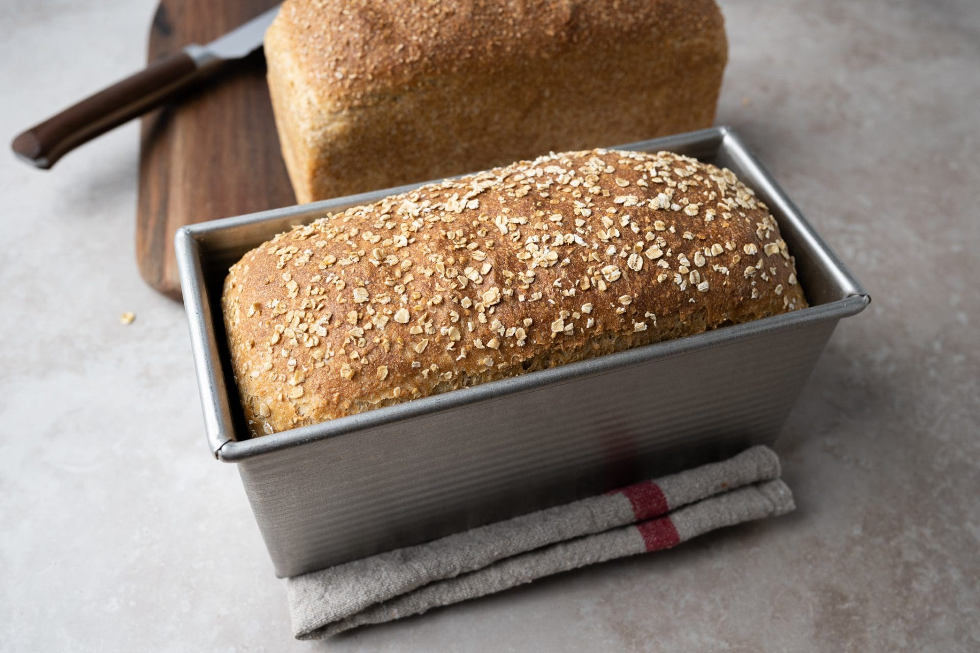 Sandwich bread topped with rolled oats