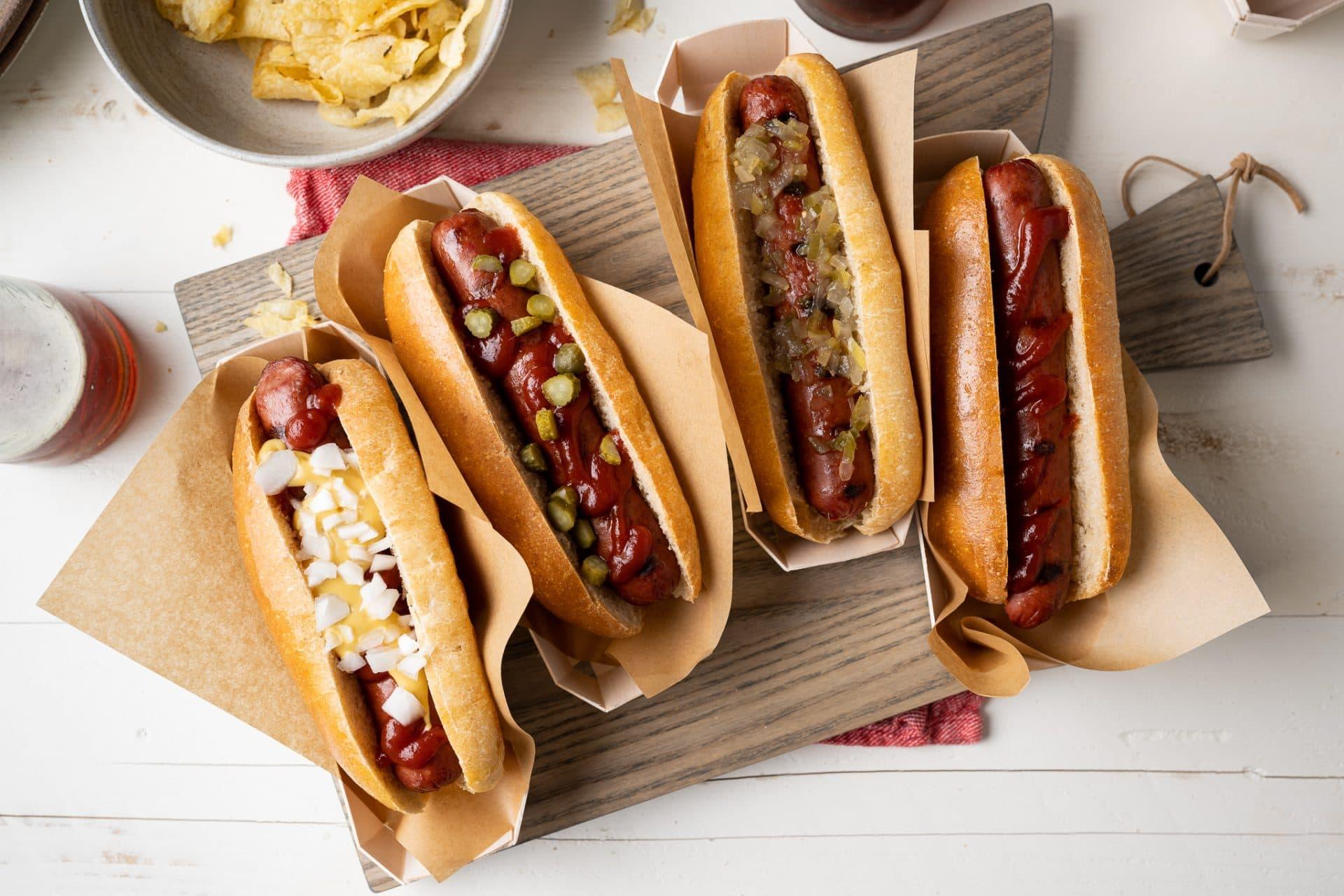 Homemade hot dog buns