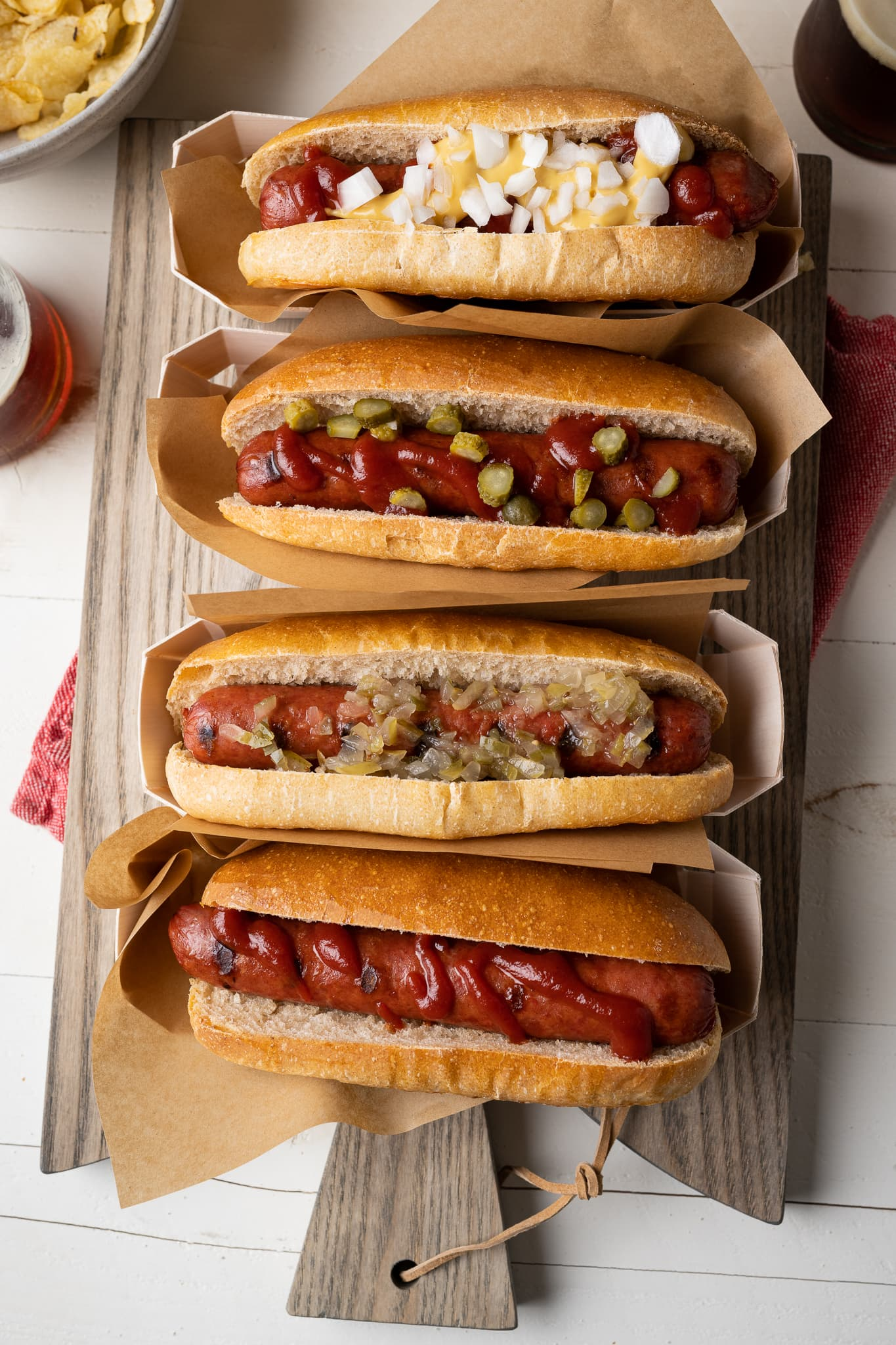 Homemade hot dog buns filled with hot dogs