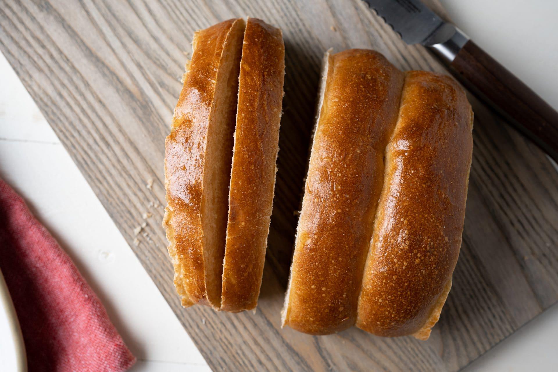 Homemade New England style hot dog buns