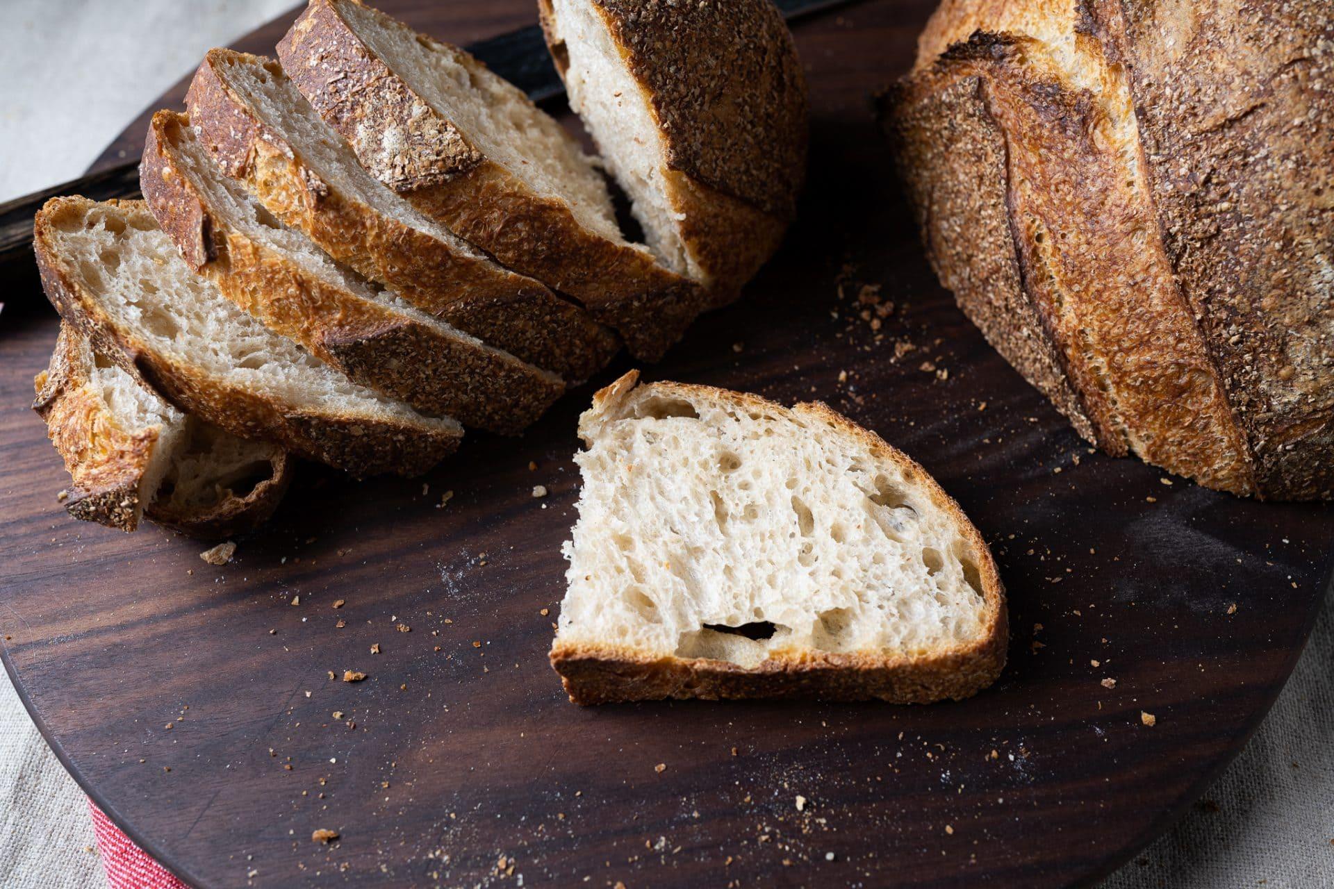 No-knead sourdough bread crumb