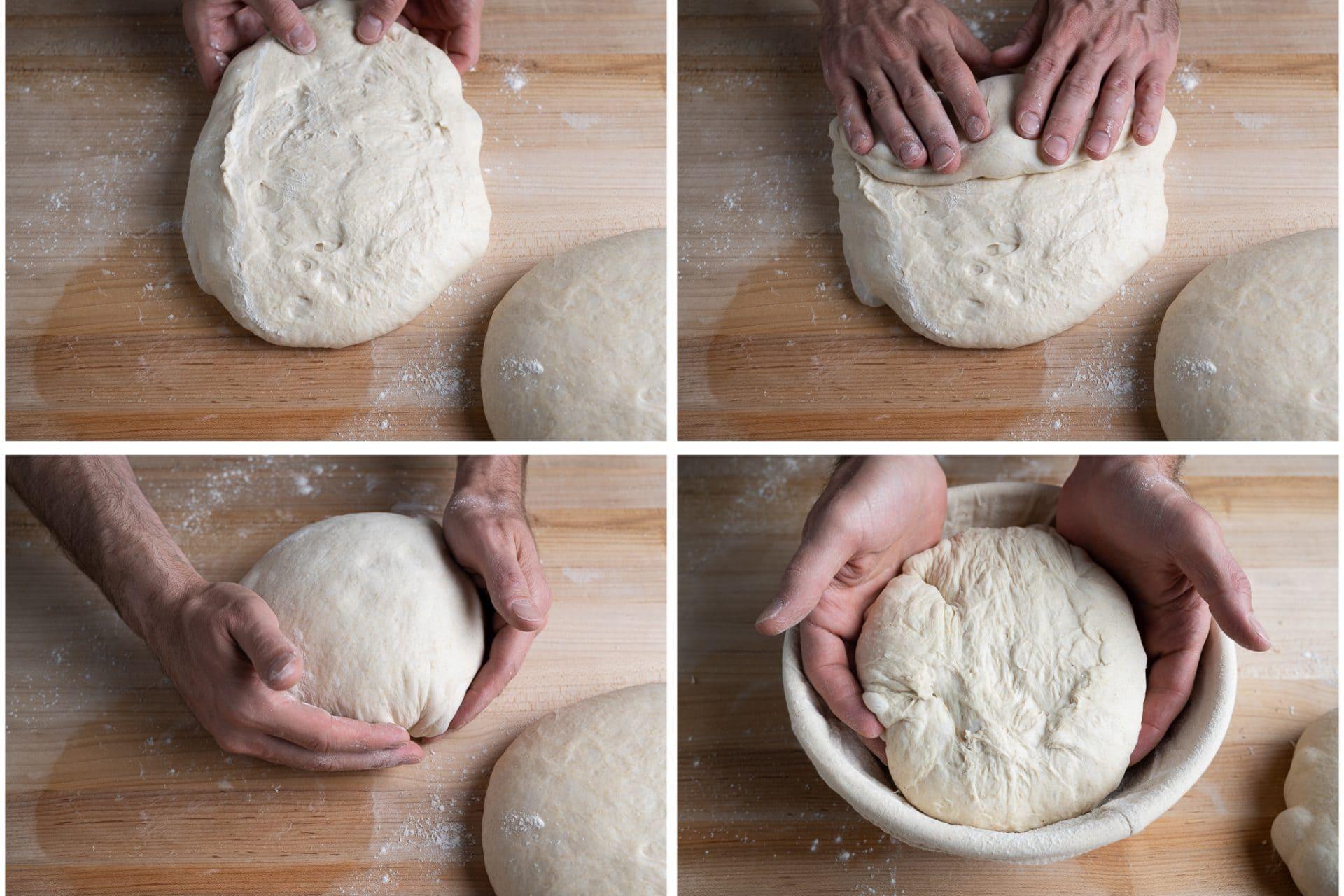 Shaping no-knead sourdough bread
