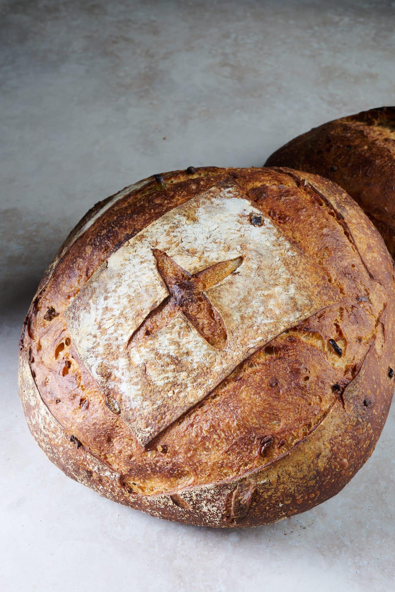 Jalapeño-cheddar sourdough shaped as a boule