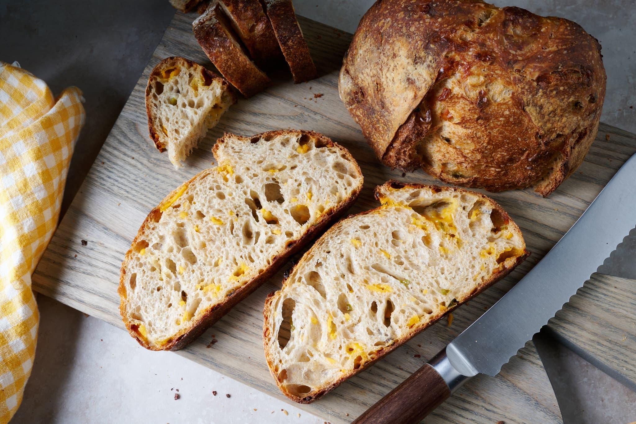 Jalapeño-cheddar sourdough bread crumb